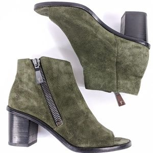 Frye Brielle Zip Peep Suede Booties